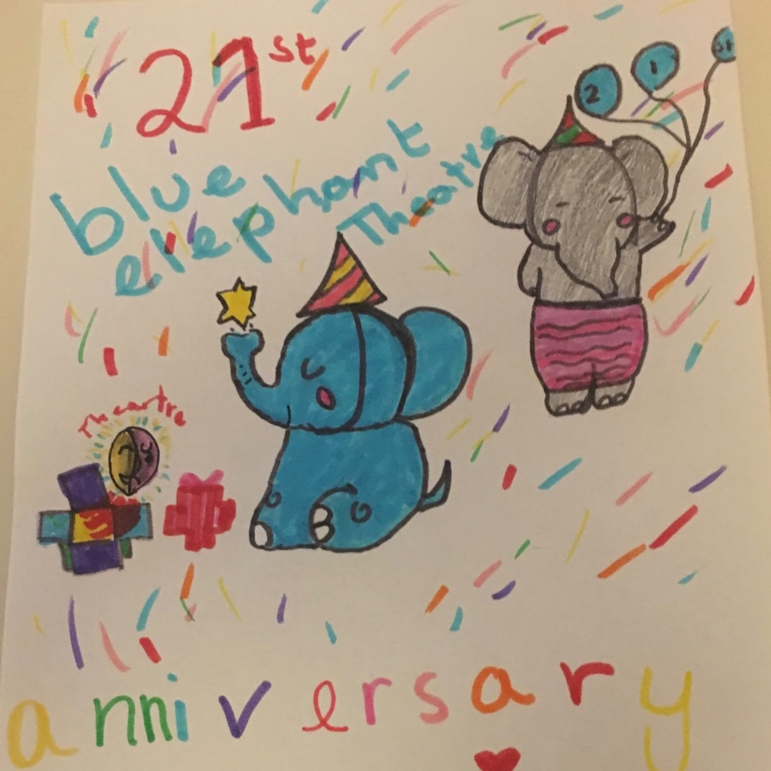 Over 10's entry reading 21st anniversary Blue Elephant Theatre, with a blue elephant in a party hat in the centre